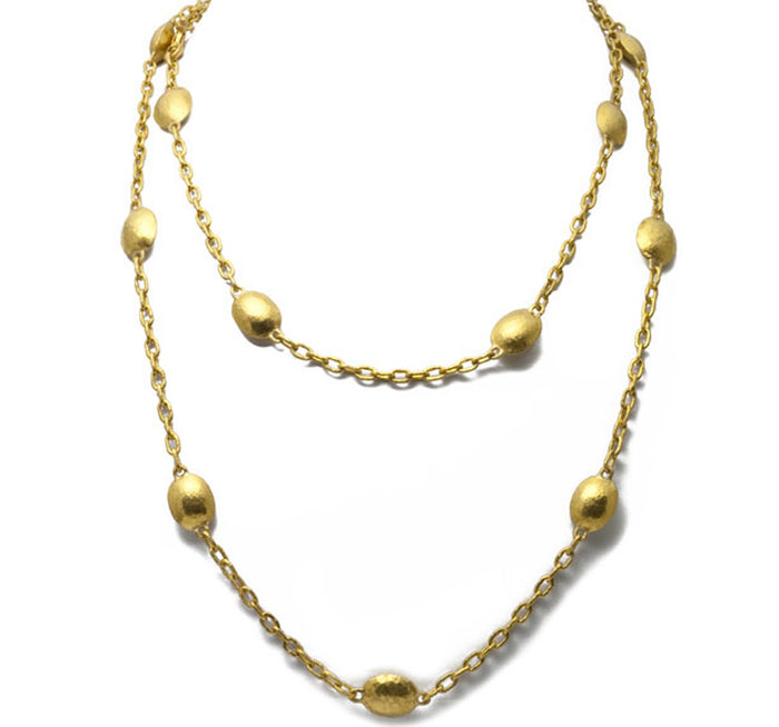 Gold Oval Lentil Stations Necklace