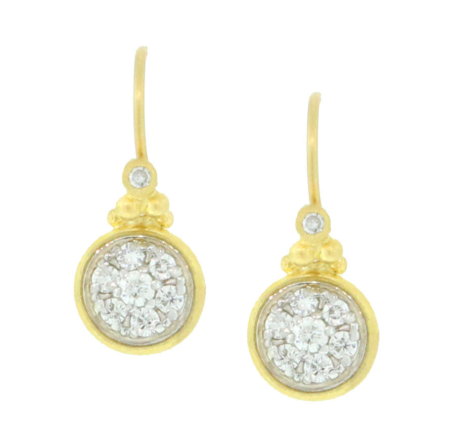 Round White Diamond Pave Dangle Earrings