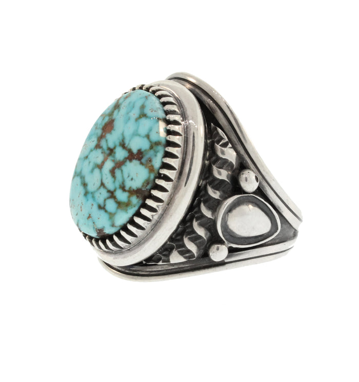 OVAL TURQUOISE RING WITH ORNATE SHANKS