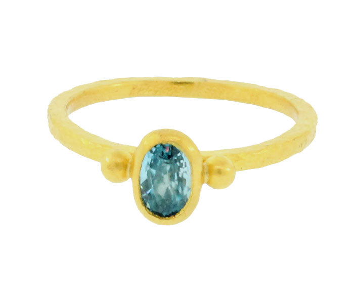 Gold Blue Topaz Ring