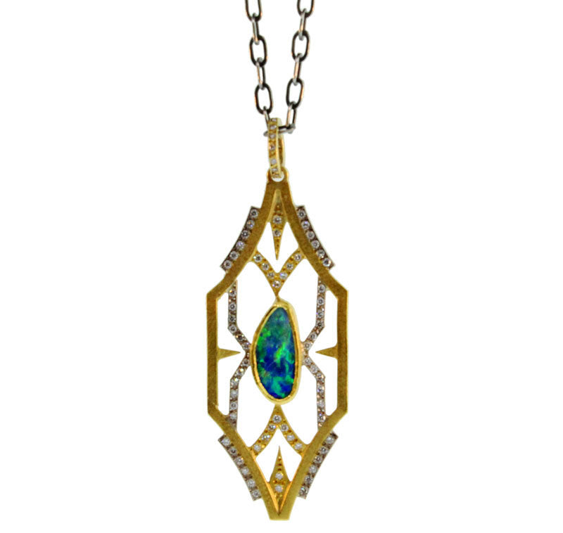 OPAL AND DIAMOND WINDOW PENDANT
