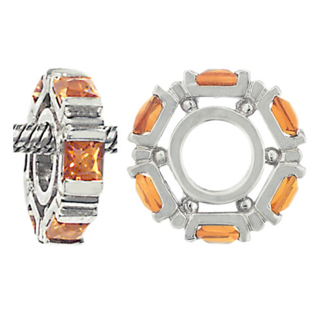 W-24 White Gold Princess Cut Citrine Wheel