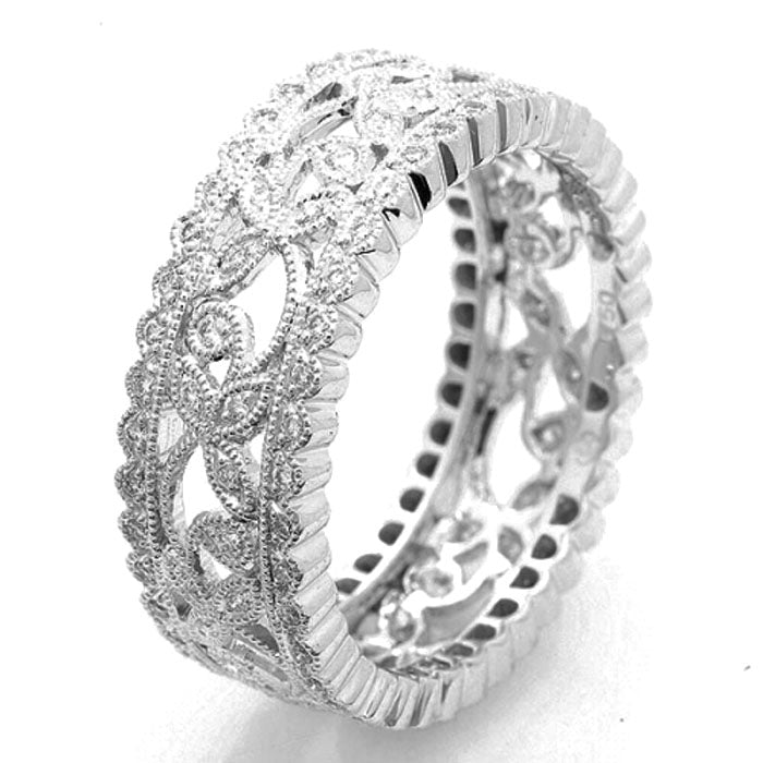 18K White Gold Wide Filigree Band
