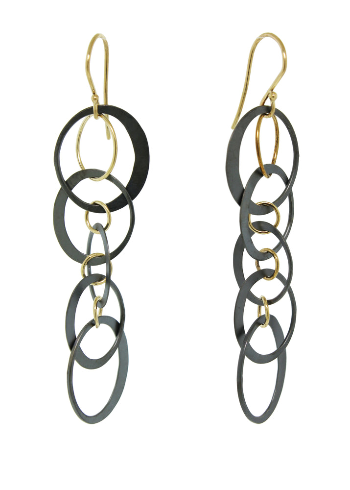 Oxidized Silver and Gold Dangle Earrings