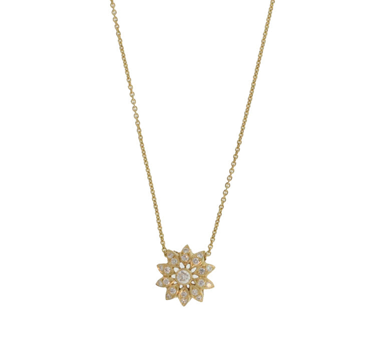 DIAMOND FLOWER PENDANT IN YELLOW GOLD