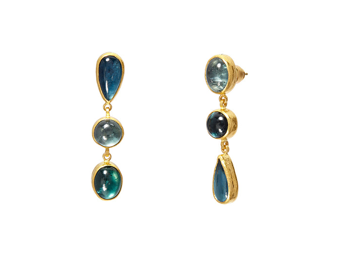 CABOCHON BLUE TOURMALINE DROP EARRINGS