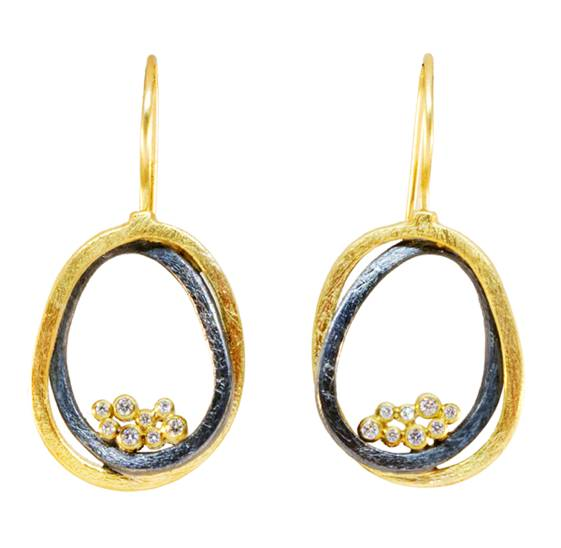 Gold And Silver Small Diamond Earrings