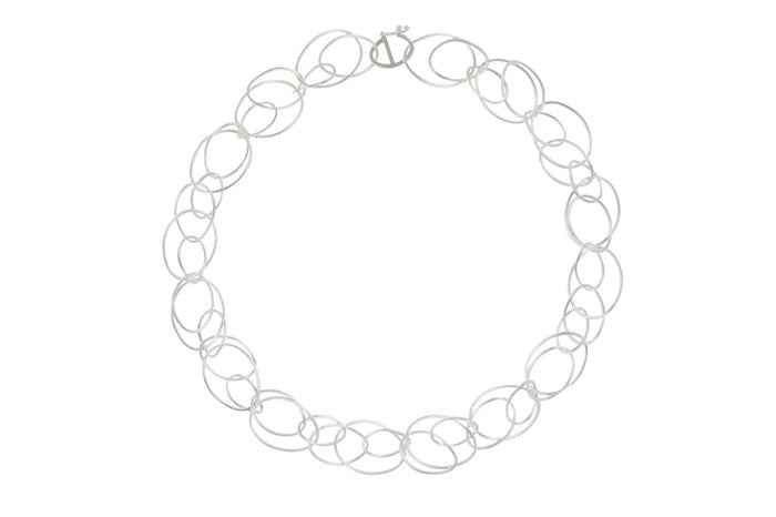 SILVER LARGE OPEN SHAPES NECKLACE