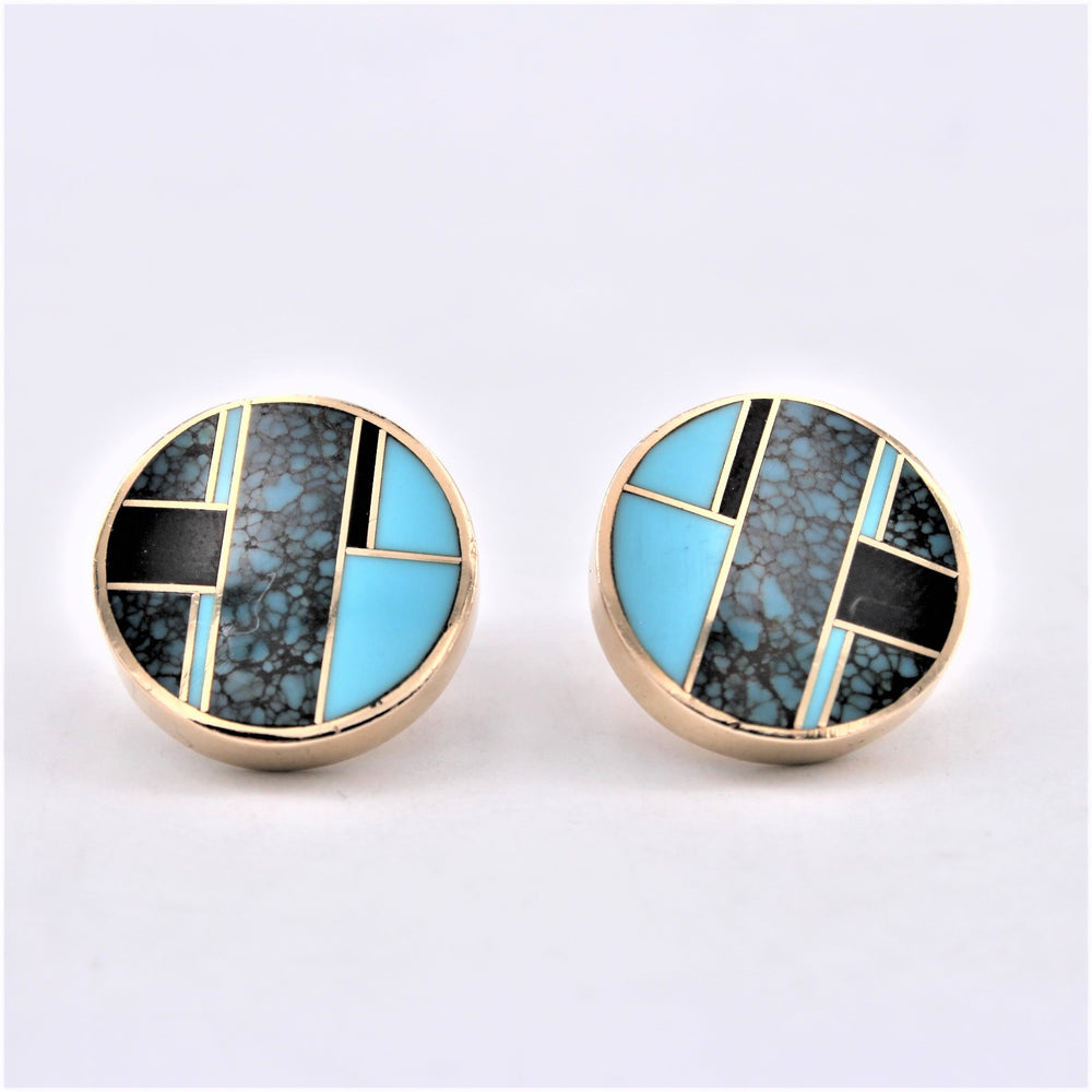 14K Gold Post Earrings Inlay Design