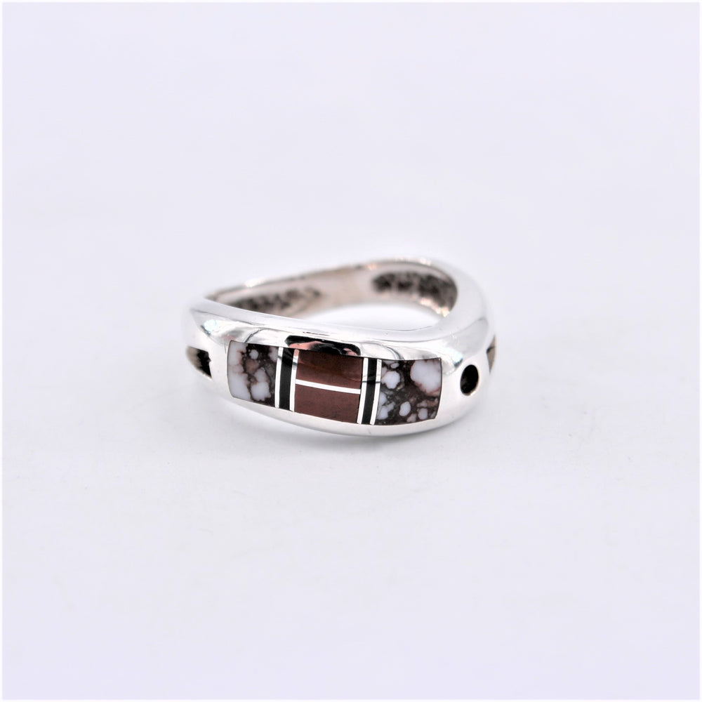 Wave Band Inlay Ring