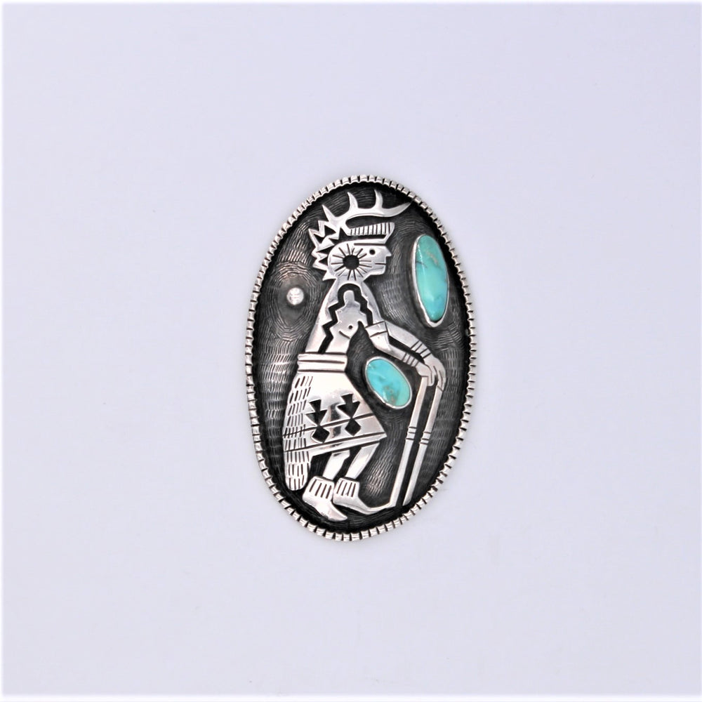 Sterling Silver Kachina Dancer with Turquoise Pin