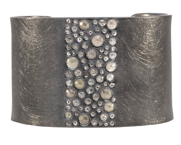 Oxidized Sterling Silver Diamond Cuff Bracelet