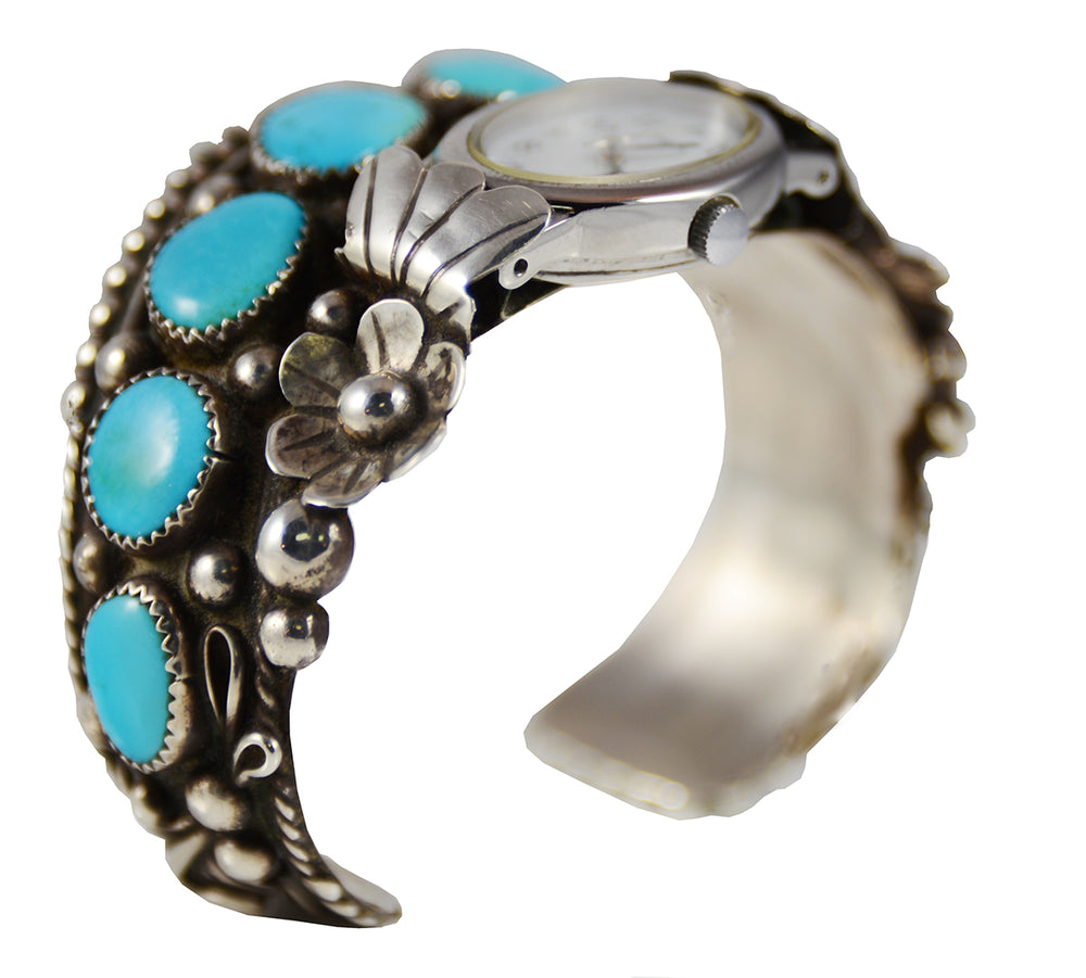 Turquoise and Silver Cuff Watch