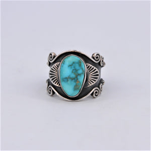 Wide Ornate Turquoise & Sterling Silver Ring