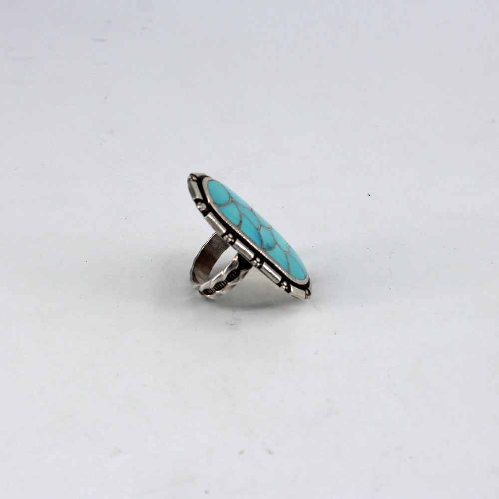 'Scale' Turquoise Inlay Oval Ring