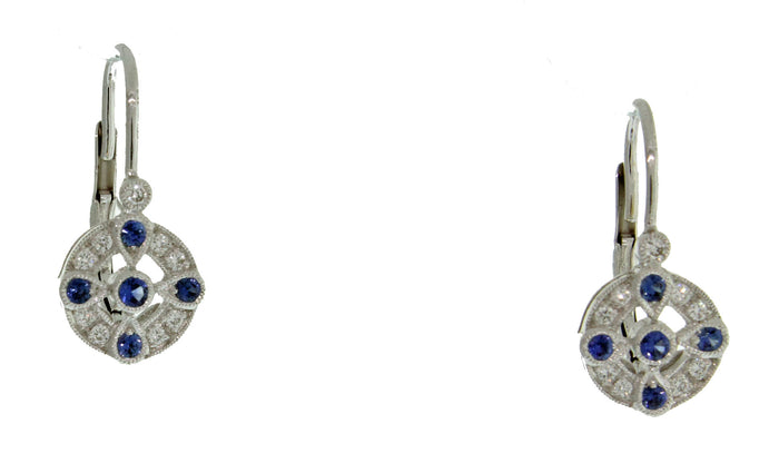 DIAMOND AND SAPPHIRE EURO WIRE EARRINGS