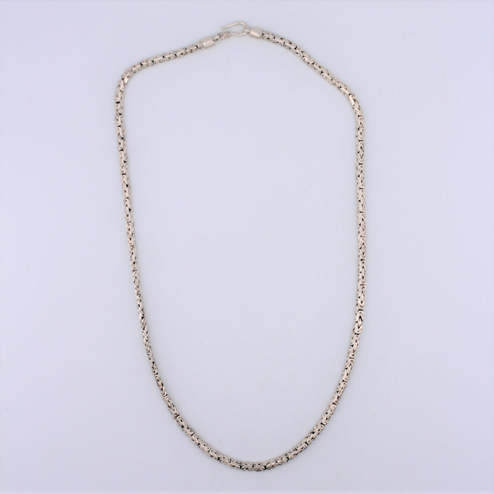 20in. Sterling Silver Oval Loose Woven Hook Chain