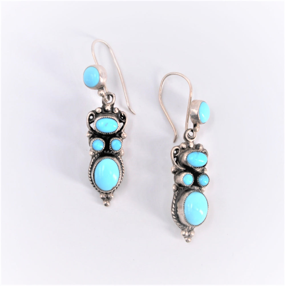 5 Stone Turquoise Dangle Earrings