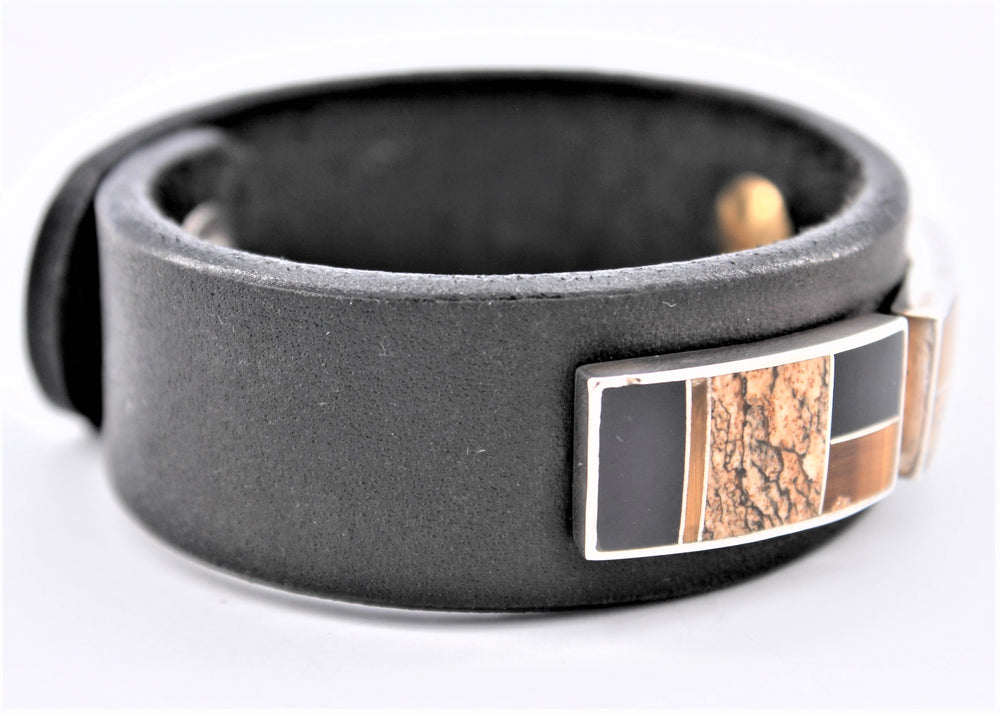 3 Piece Inlay Leather Cuff