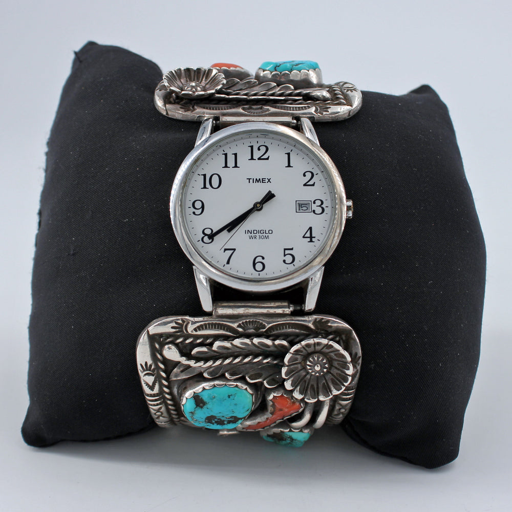 Turquoise & Coral Heavy Stamped Sterling Silver Watch