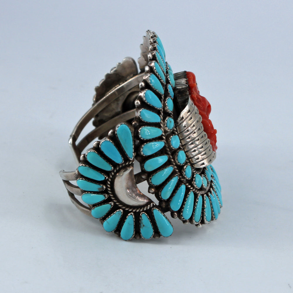 Large Zuni Petit Point Turquoise & Coral Cuff