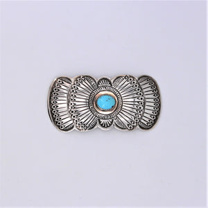 Turquoise & Sterling Silver Stamped Pin
