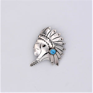 Vintage Sterling Silver & Turquoise Head Dress Pin