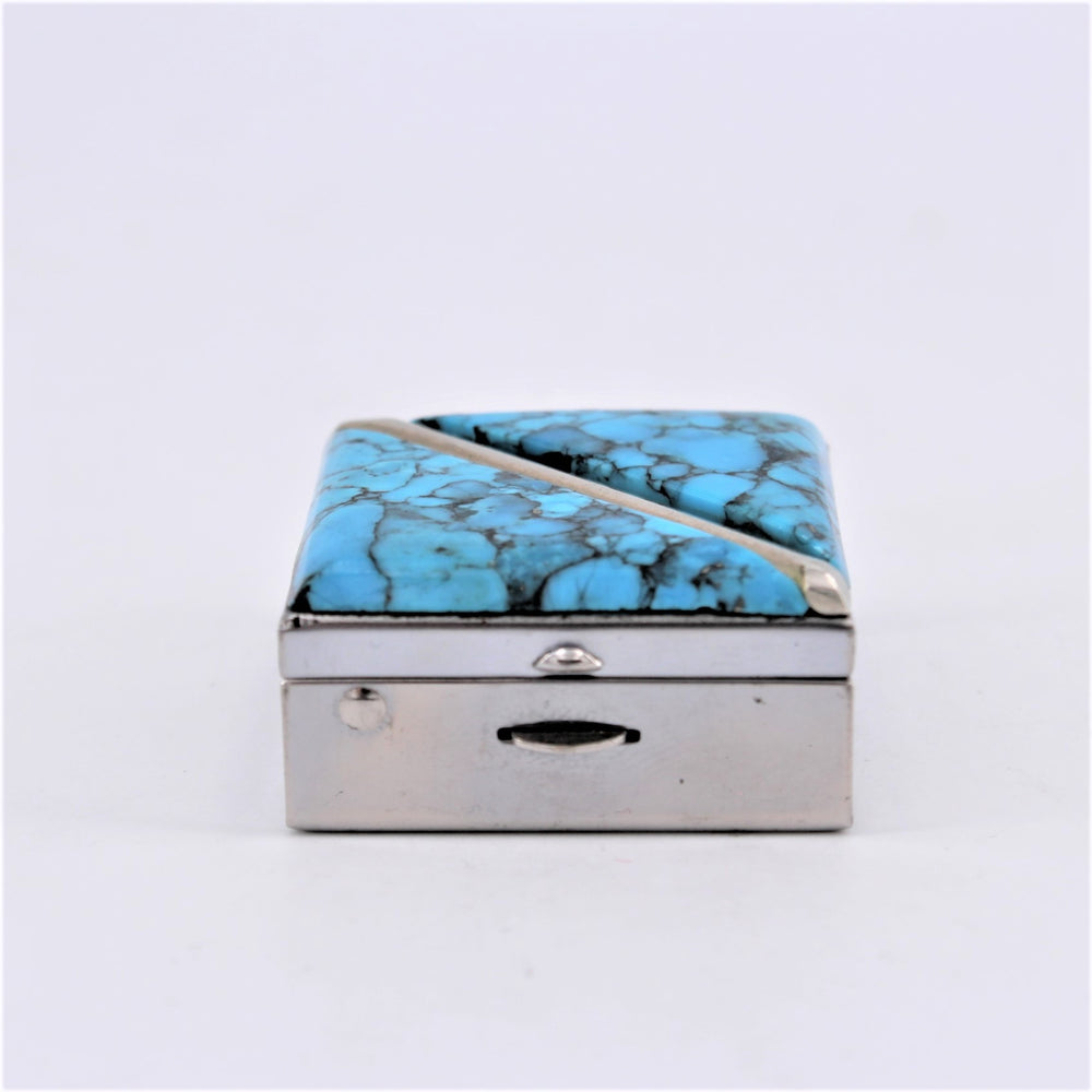 Vintage Sterling Silver & Turquoise Inlay Pill Box