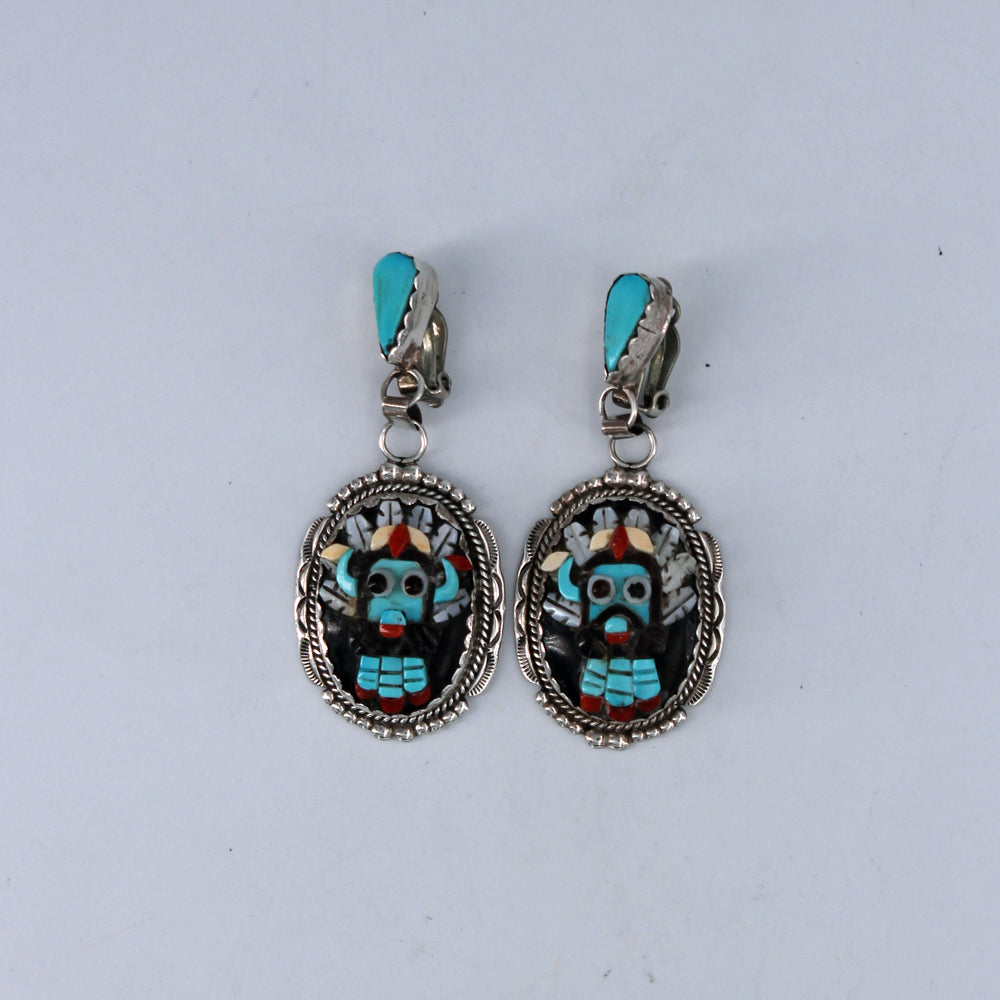 Large Inlay Kachina Mask Clip Earrings