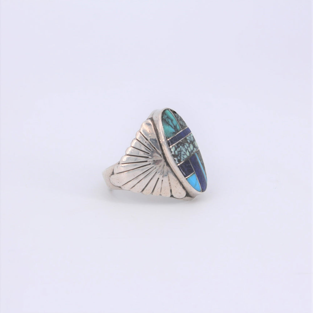 Oval Multi-Stone Inlay Ring