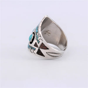 Crushed Inlay & Sterling Silver Shield Ring