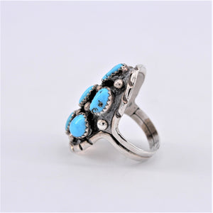 7 Turquoise Nugget & Sterling Silver Ring