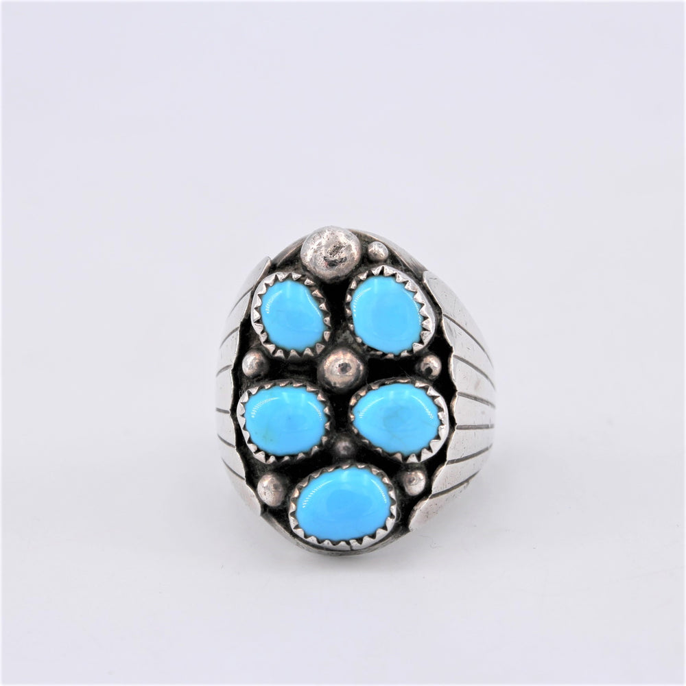 5 Turquoise Nugget & Sterling Silver Ring