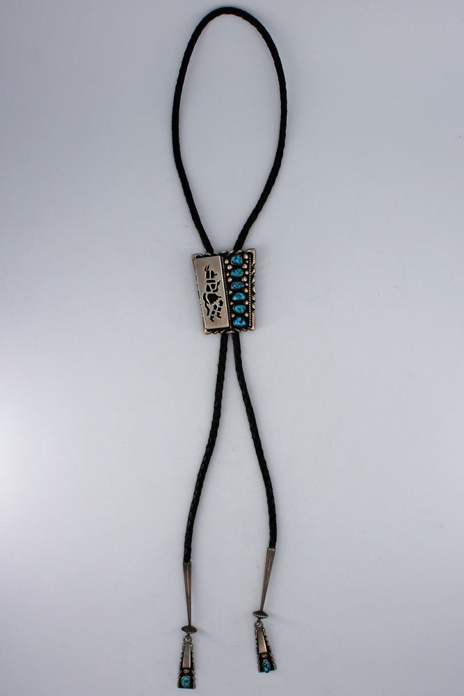 Heavy Sterling Silver Kachina Dancer & Turquoise Nugget Bolo Tie