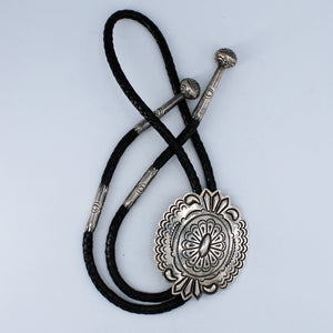 Large Sterling Silver Concho Bolo Tie with Stamped Accents