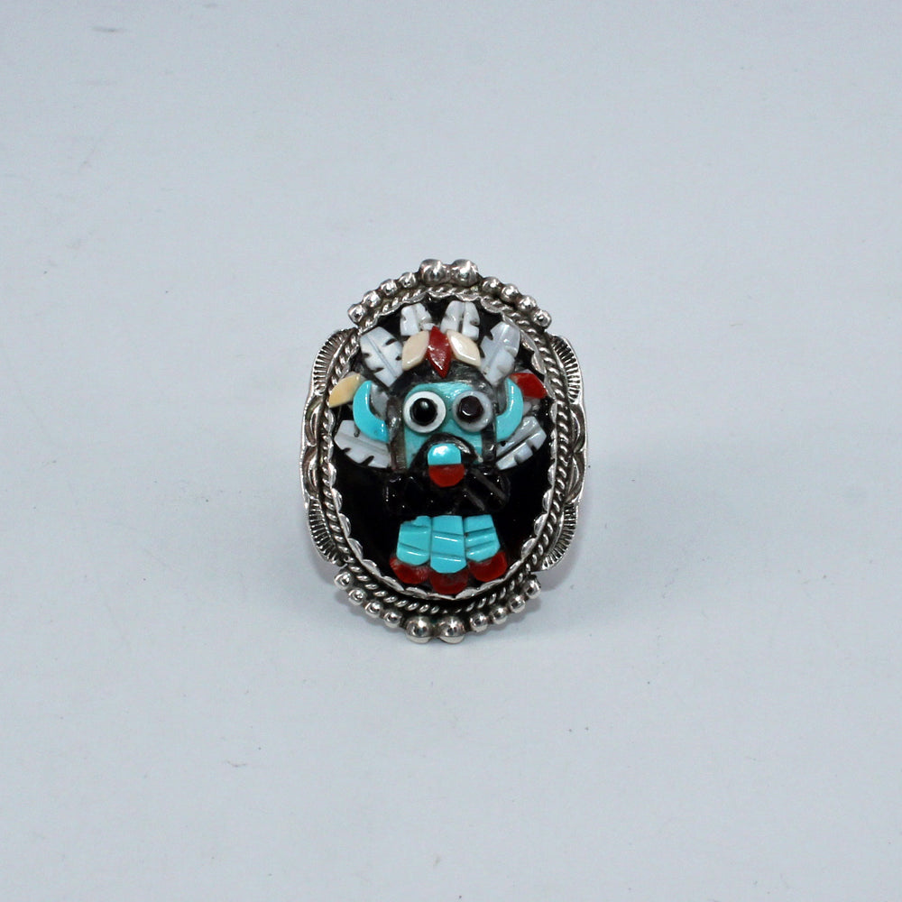 Zuni Kachina Mask Inlay Necklace & Ring Set