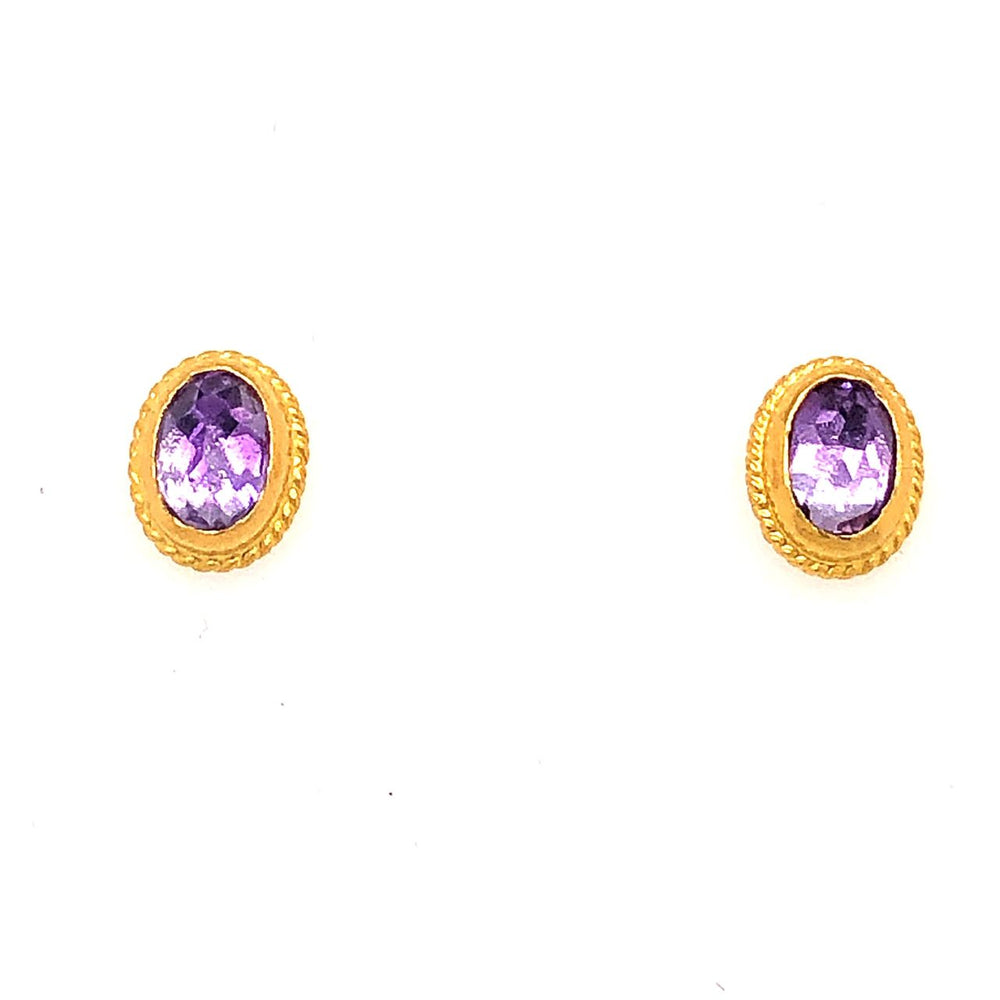 24K Gold Oval Amethyst Stud Earrings