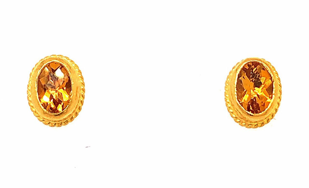 Copy of 24K Gold Oval Citrine Stud Earrings