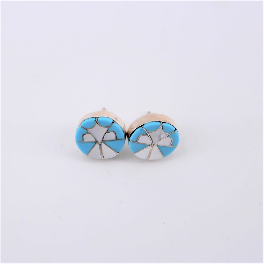 Round Inlay Stud Earrings
