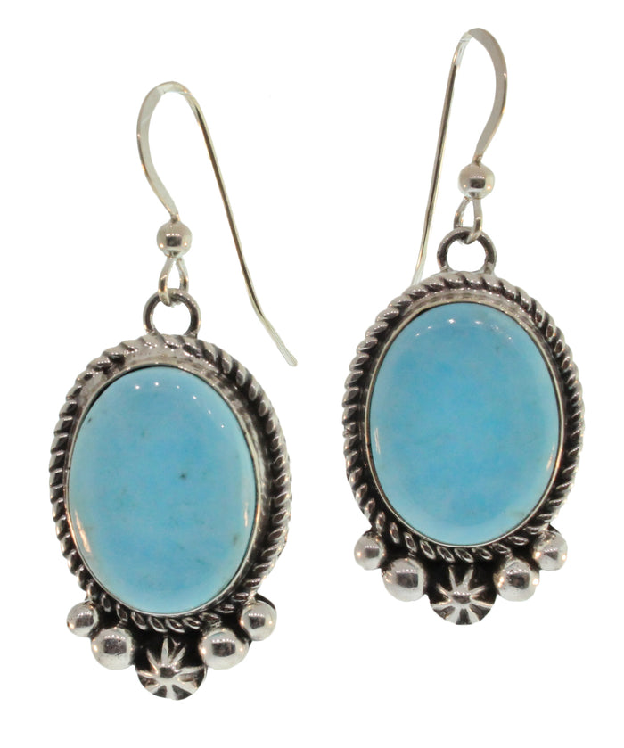 OVAL TURQUOISE DANGLE EARRING WITH ORNATE FRAME