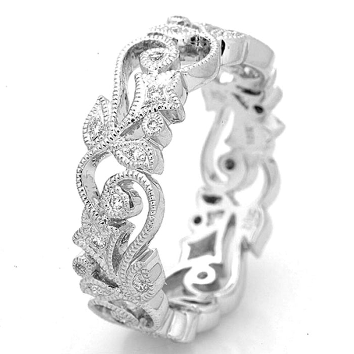 18K White Gold and Diamond Vine Band