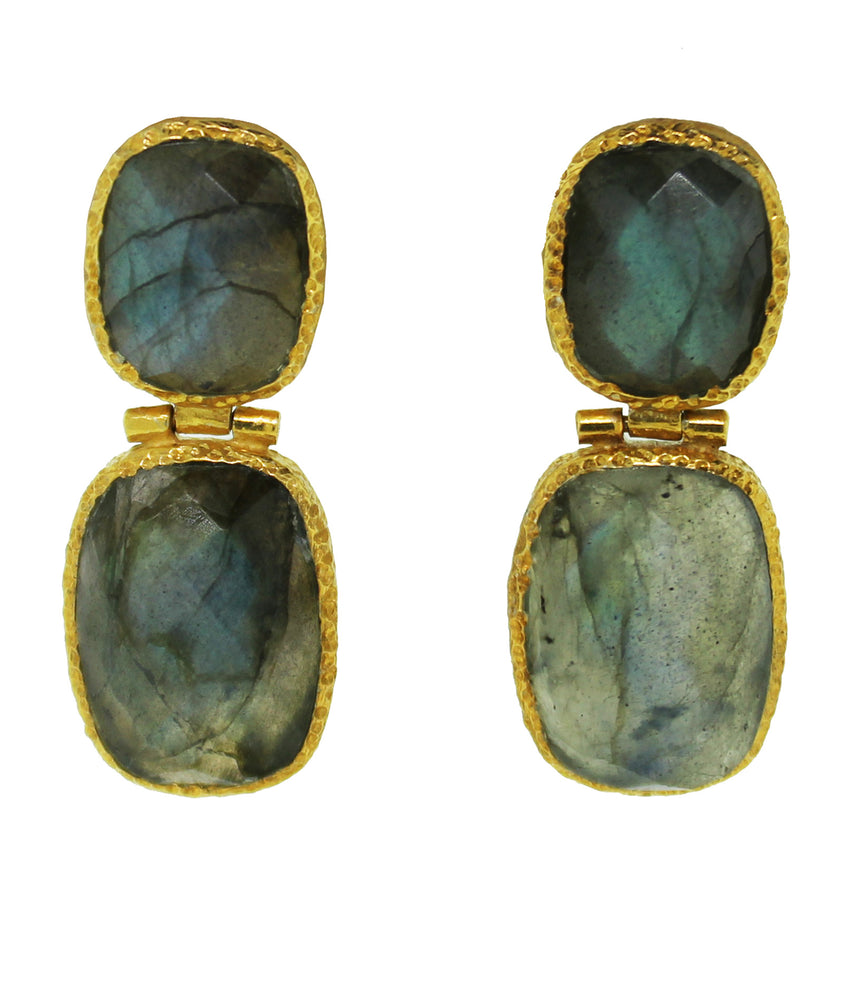 Labradorite Two Stone Earrings