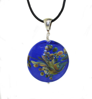 Blue Peacock Circle Pendant