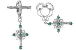 W-27 White Gold Emerald Cross Dangle