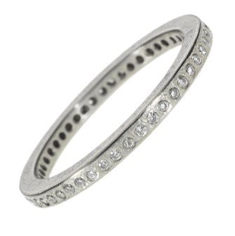 Thin Palladium Band with White Diamonds