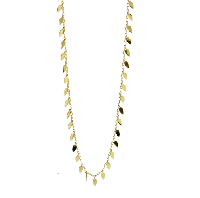 Long Gold Leaves Necklace