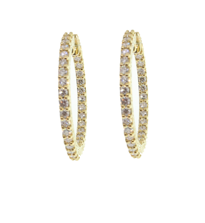 DIAMOND IN AND OUT HOOPS YELLOW GOLD