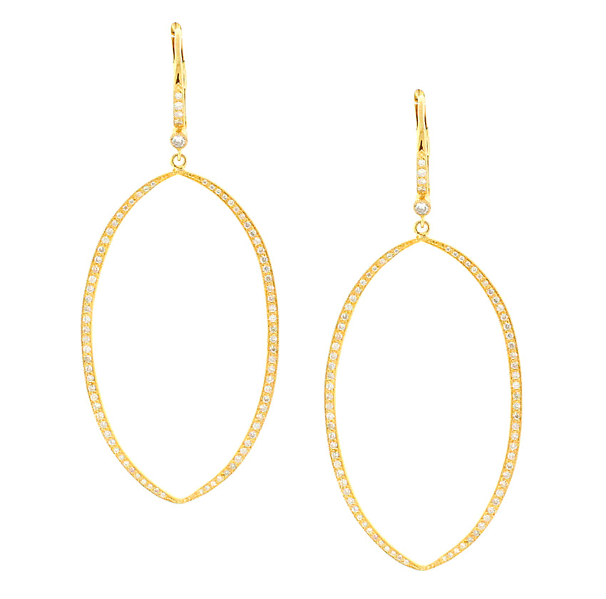 Medium Gold Open Marquise Earrings