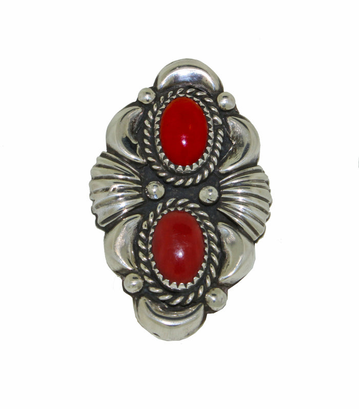 Vintage Sterling Silver and Coral Ring