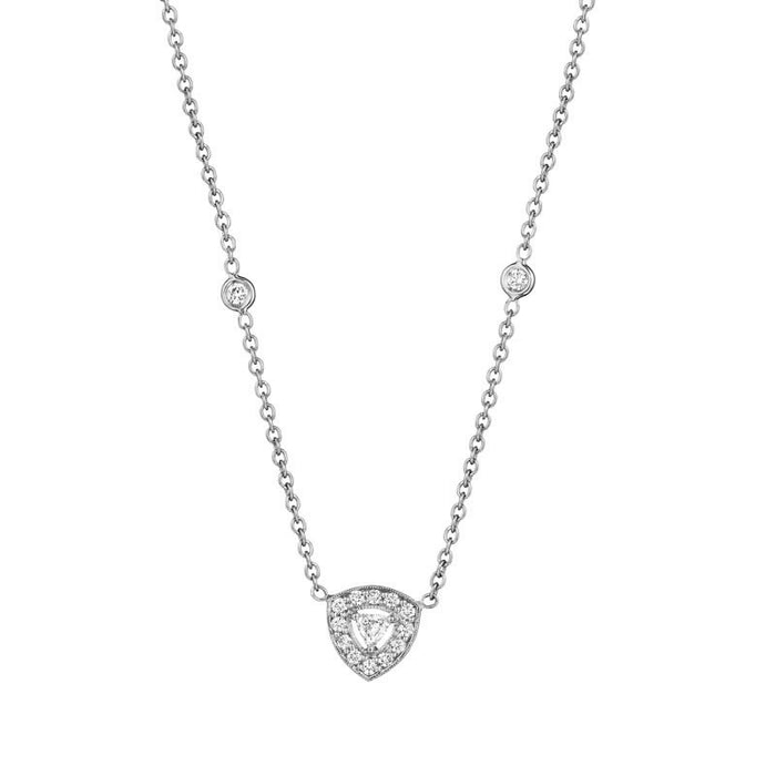 White Gold Trillion Diamond Necklace